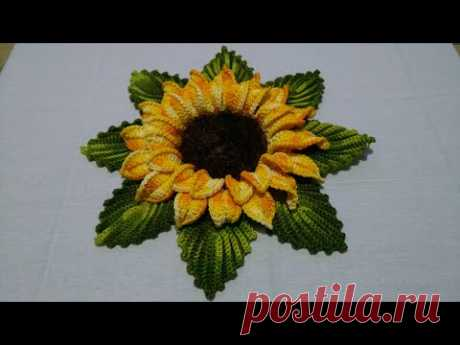 Flor girassol em crochê com Maria José
