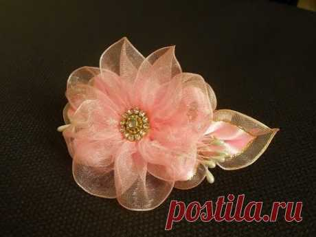 Flower from MK\/DIY Flower from organza ribbon\/Organza Fita da flor tutorial organza