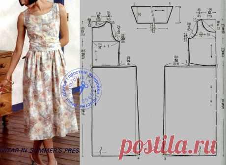 Платье без рукавов, с присборенной юбкой и широким поясом, выкройка на размеры 38, 40/42, 46/48 (рос.). #простыевыкройки #простыевещи #шитье #платье #выкройка