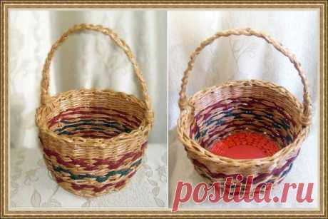 Круглая корзина с объёмом около 5 литров. Кроме бумажной лозы используется шнур для плетения.