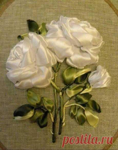 Вышивка розы восхитительной лентами