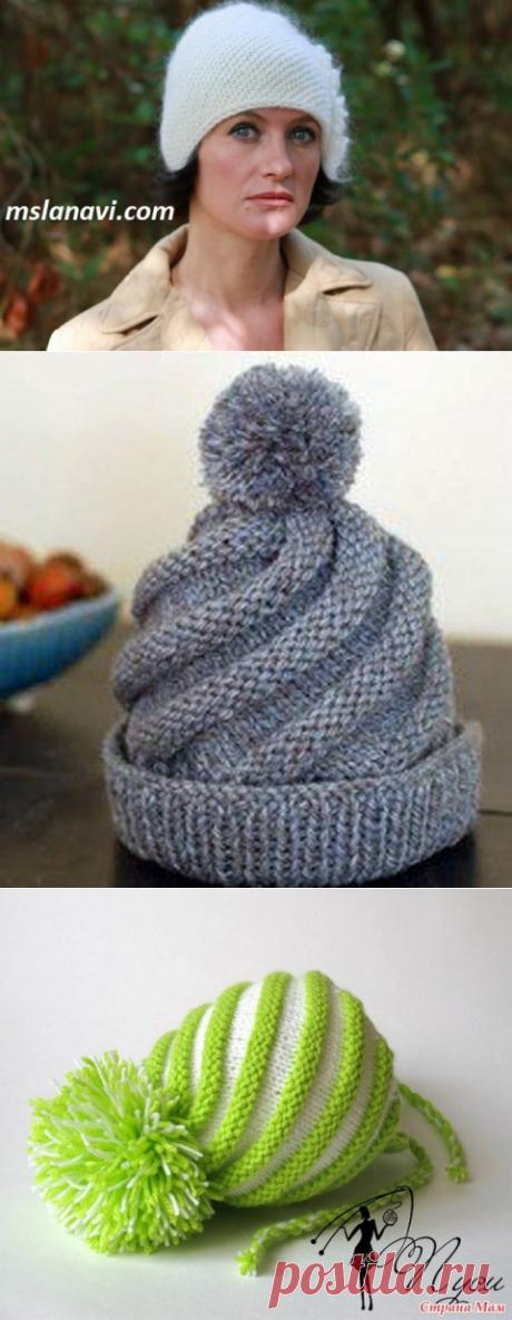 Вязаная шапочка по диагонали — просто и модно | razpetelka.ru