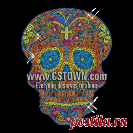 Neon Color Skull Rhinestud Transfer Iron on Design - CSTOWN