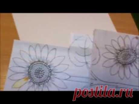 Аппликация из ткани Подсолнухи часть 1