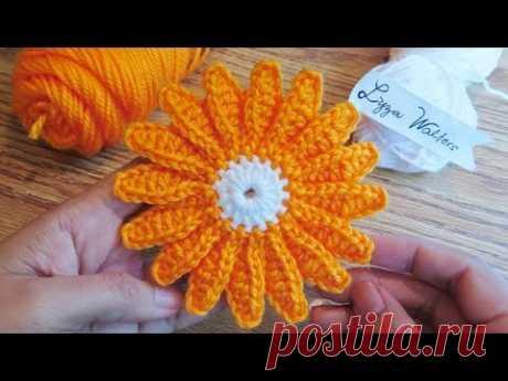Crochet Square Motif - Daisy Flower