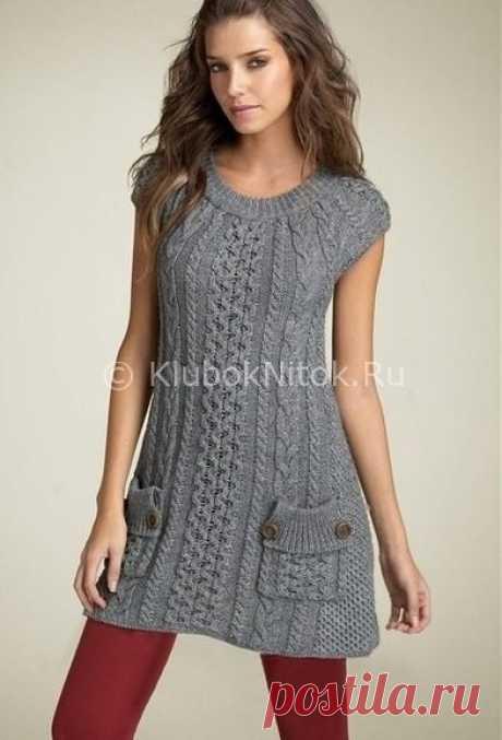 Платье-туника спицами | Вязание для женщин | Вязание спицами и крючком. Схемы вязания.