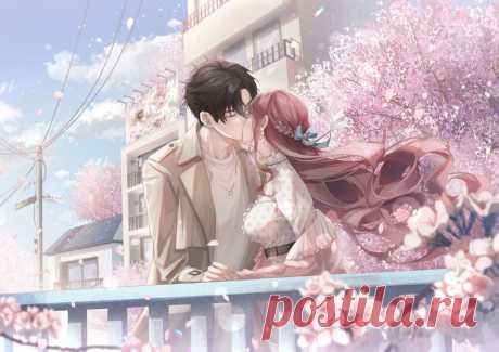 Обои Целующиеся парень с девушкой у цветущей сакуры на рабочий стол