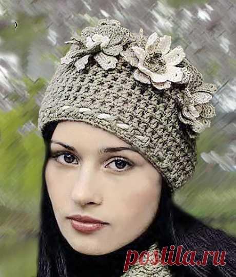 Приход Весны — красивая вязаная шапка с цветами крючком | ВЯЗАНИЕ ШАПОК: женские шапки спицами и крючком, мужские и детские шапки, вязаные сумки