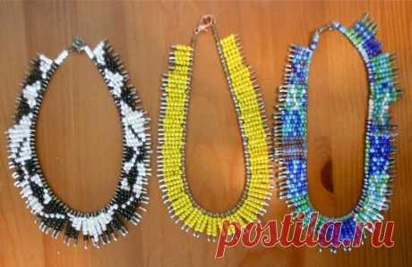 Красивое ожерелье из булавок и бисера | Идеи рукоделия | Яндекс Дзен