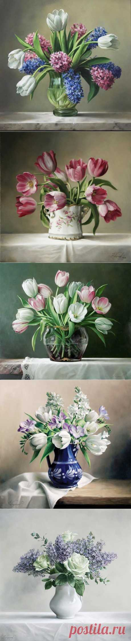 Цветочные букеты и натюрморты от Pieter Wagemans.