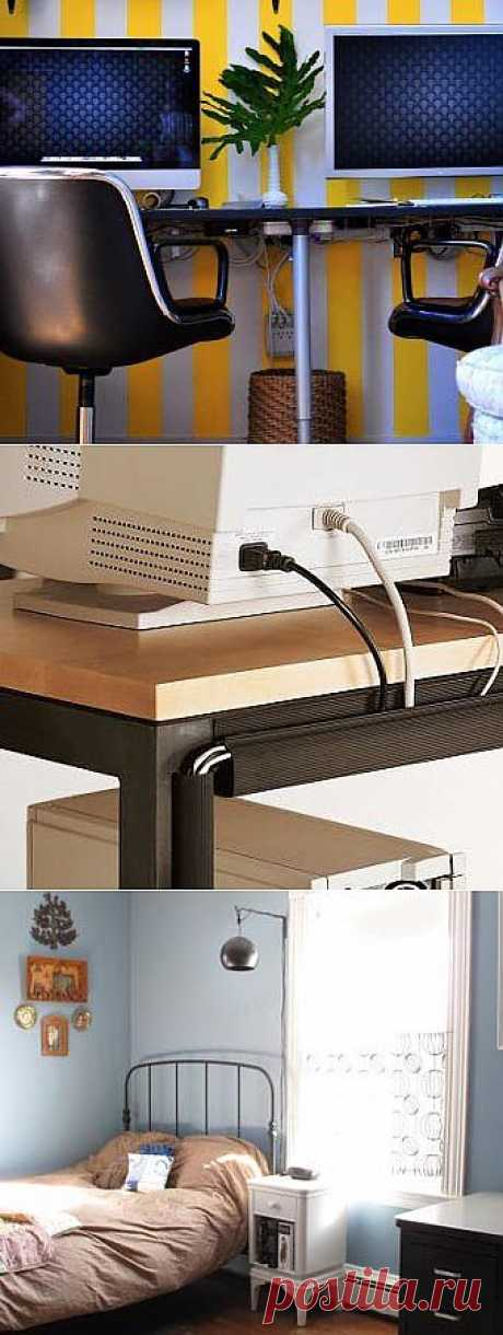 8 modos del disfraz de los cables: exactamente e imperceptible, sobre el escritorio y en el dormitorio. Pintar bajo el color de la pared, esconder en los contenedores de plástico, hacer la marca y...