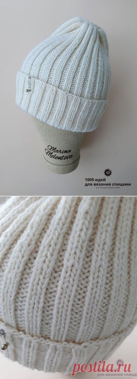 Светло-кремовая шапочка резинкой 2*2