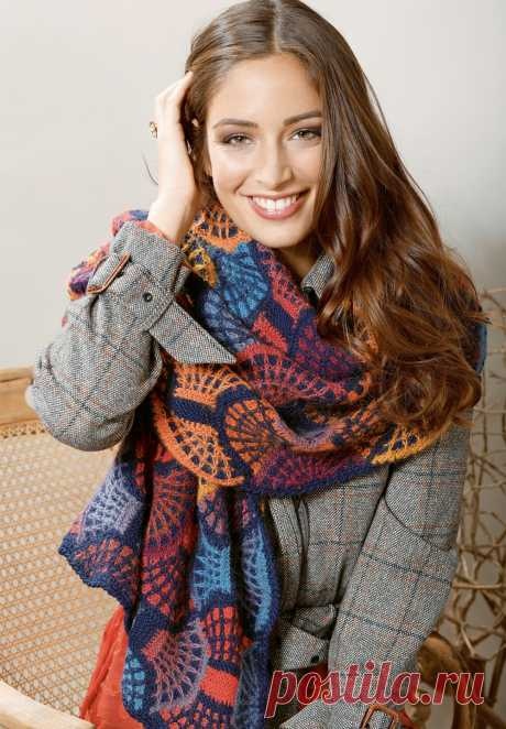 Многоцветный платок свеерными мотивами - схема вязания спицами. Вяжем Шали на Verena.ru