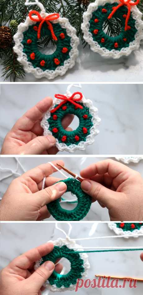 Crochet Christmas Wreath Easy Tutorial - Design Peak