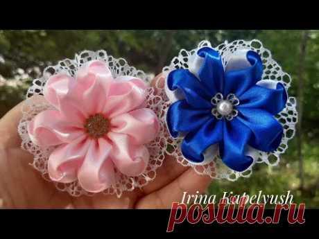 Цветы из ленты 2.5 см. Цветы из атласа . Мк канзаши .Flowers from a ribbon.Flores de cinta.