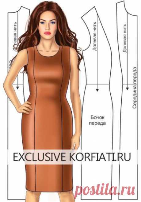 Выкройка платья с вертикальными рельефами Выкройка платья с вертикальными рельефами - простое моделирование и пошив! Чтобы приступить к моделированию выкройки платья с вертикальными рельефами, необходимо построить выкройку-основу платья.