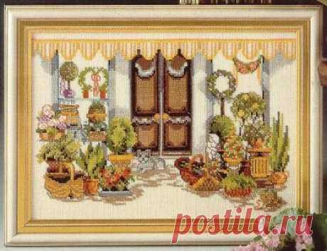 схема для вышивки крестом натюрморта с вазонами У дверей