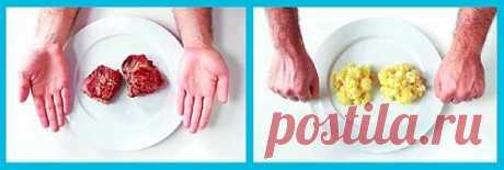 (+1) - «Правило рук» для определения оптимальной порции для человека | ДОМОХОЗЯЙКИ+