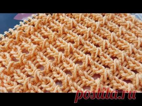 Вяжем рельефную сеточку на основе резинки 🌾 knitting pattern.