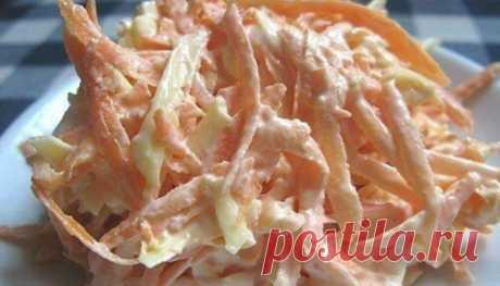 """Морковный салат """"лайт"""" с сыром и чесноком"""