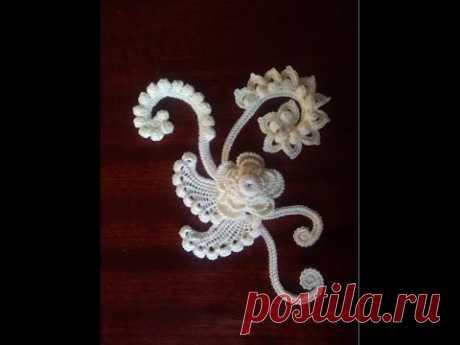 Irish lace Уроки вязания крючком ирландского кружева Безотрывное вязание крючком Миникомпозиции- 2 - YouTube