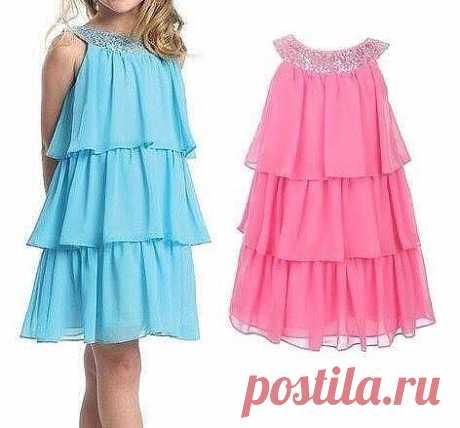 Выкройка воздушного летнего платья для девочки от 1 до 6 лет (Шитье и крой)   Журнал Вдохновение Рукодельницы