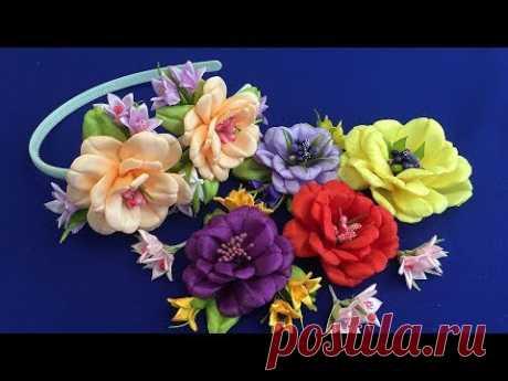 Ribbon flowers/Flores de cintas/Цветы из лент