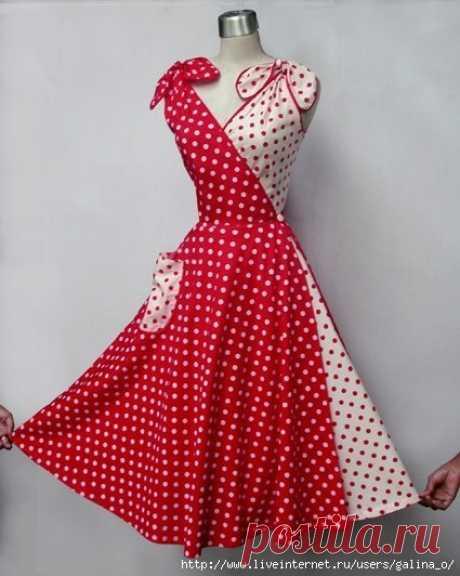 Платье-трансформер 50-х Как вам такое платьице? Впервые вижу эту модель. Сшить несколько таких половинок, хорошо между собой сочетающихся и менять по настроению.  Вот еще варианты. Здесь модель с рукавами.