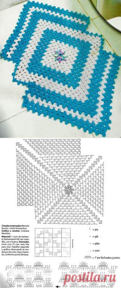 Ажурный коврик простым узором. Как связать коврик крючком   Домоводство для всей семьи.