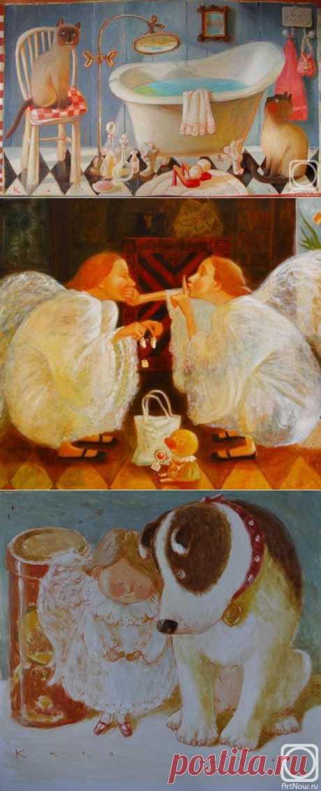 Пусть ангелы хранят тебя. Наивное. Белорусская художница художница Королева Анна.