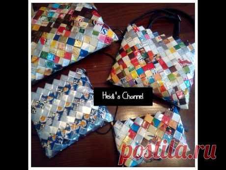 Como hacer carteras/bolso con bolsas de sabritas/Como hacer un bolso con sabritas/Candy wrapper bag