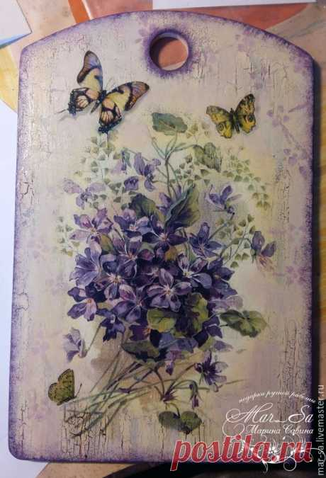 ""\""""The French violets"""": we decorate a chopping board with use of a single-step craquelure and implantation of listing - the Fair of Masters - handwork, handmade""460|675|?|en|2|45a89cc263df649939ad8d66a020f26a|False|UNLIKELY|0.33656591176986694