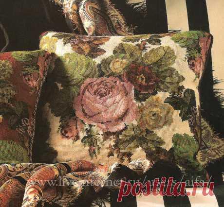 Вышивка крестом, схемы Подушка викторианские цветы