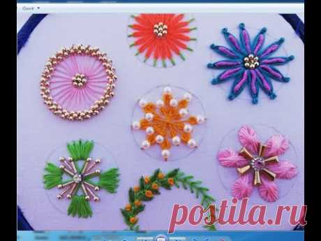 hand embroidery different type circle stitch with pearl,7embroidery in one video