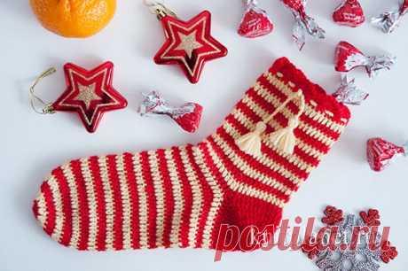 Планета Вязания | Красивый Рождественский (Новогодний) носок крючком. Схема вязания.