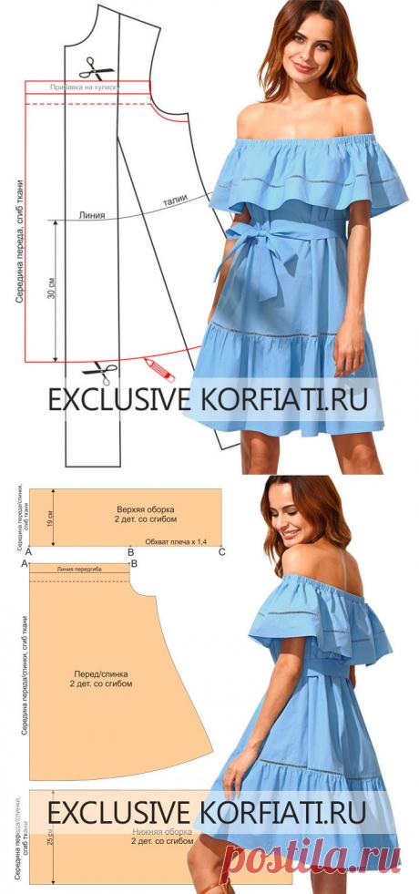 Выкройка платья с открытыми плечами на резинке от А. Корфиати