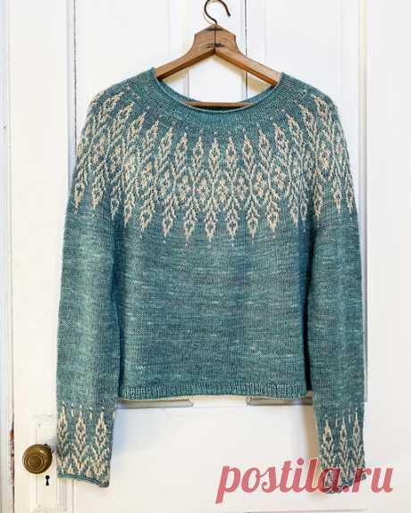 Пуловер с жаккардовой кокеткой Alden - Вяжи.ру