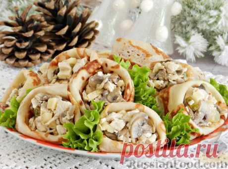 Рецепт: Мясной салат в блинчиках на RussianFood.com