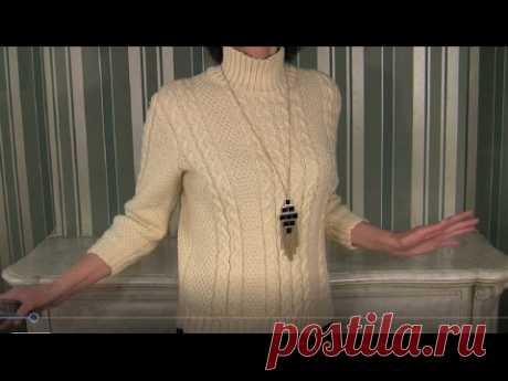 Свитер спицами простой и теплый; 2 варианта рукавов. Свитер спицами👕1 видео