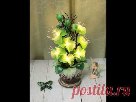 """#цветы из капрона МК Ночник """"Зеленый"""""""