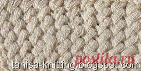 Узоры вязания: Косые петли на резинке.