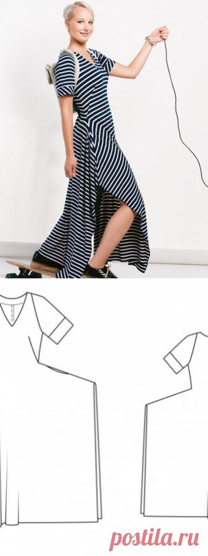 Платье в пол с рукавами реглан - выкройка № 122 из журнала 3/2015 Burda – выкройки платьев на Burdastyle.ru