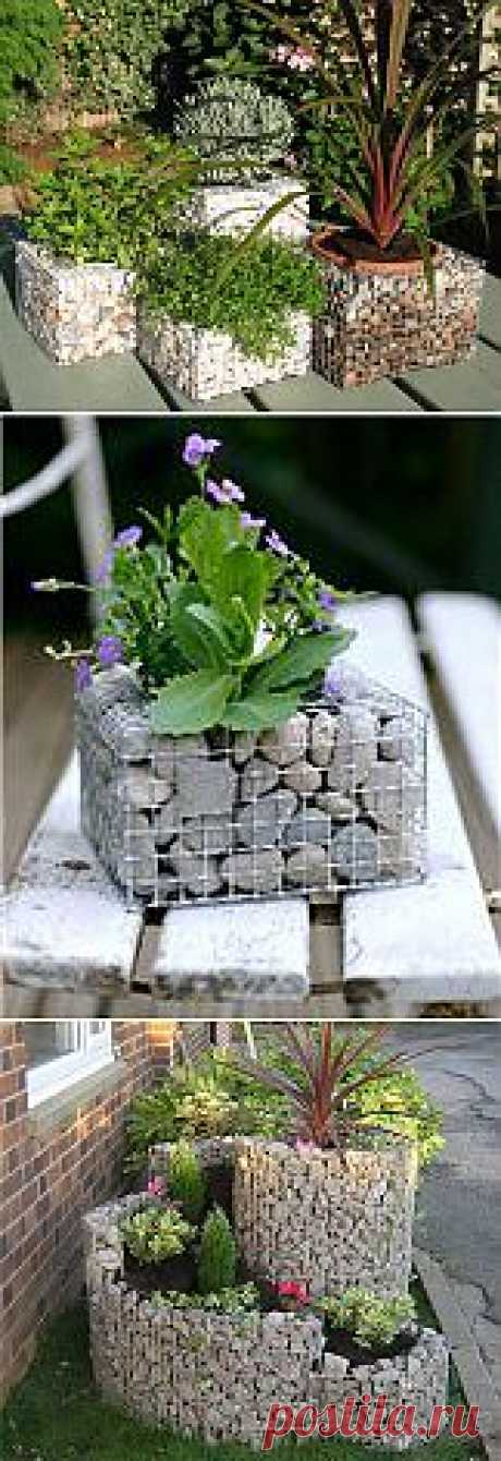 Las piedras en la jaula: gabiony. Con su ayuda hacen las paredes de soporte, terrasiruyut las pendientes, construyen las cercas, los bancos y las mesas. La elección del material — el agregado para gabionov es muy ancha: el gres claro, el granito oscuro, el guijarro gris. Mismo, quien es agradable las ideas extravagantes, pueden llenar las cestas las piedras multicolores del cristal.