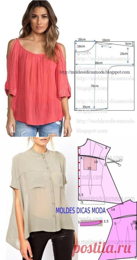Выкройки необычных блузок (подборка)