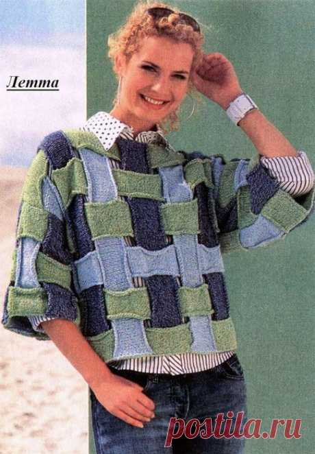 Original knitted pullover from strips.