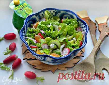 Овощной салат с редисом и мандаринами. Ингредиенты: салат листовой, сельдерей стебли, лук красный