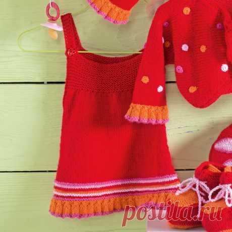 Детский сарафан с оборками - схема вязания спицами с описанием на Verena.ru