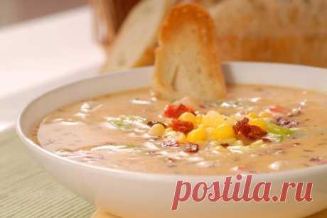 Густой суп из молодых овощей с кукурузой, фасолью и беконом | Четыре вкуса