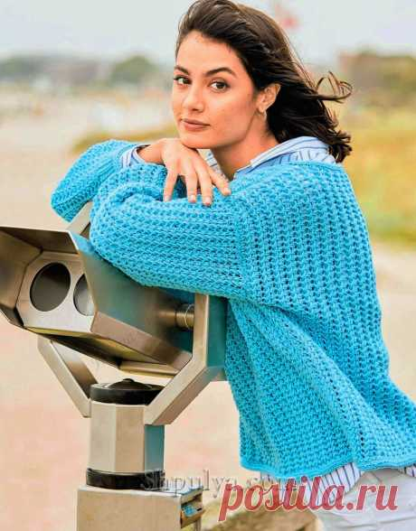 Свободный пуловер бирюзового цвета — Shpulya.com - схемы с описанием для вязания спицами и крючком