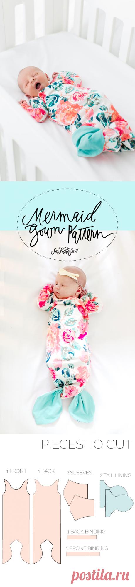 Mermaid Baby Gown Tutorial + Owlet Smart Sock Promo - see kate sew